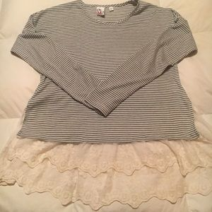 Striped Tunic with a Lace Hem